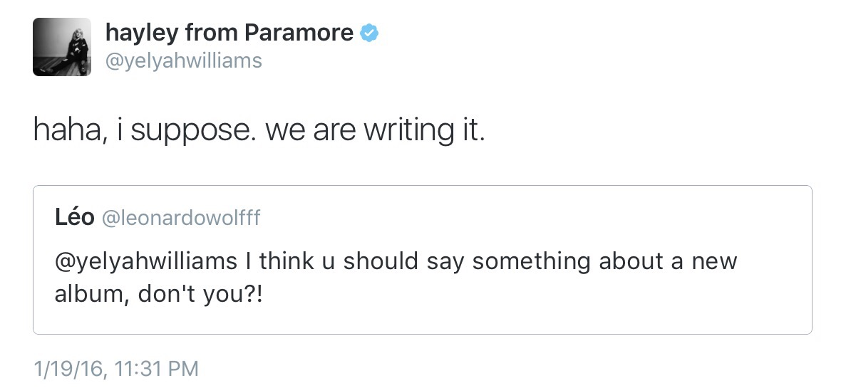 Paramore Writing New Album